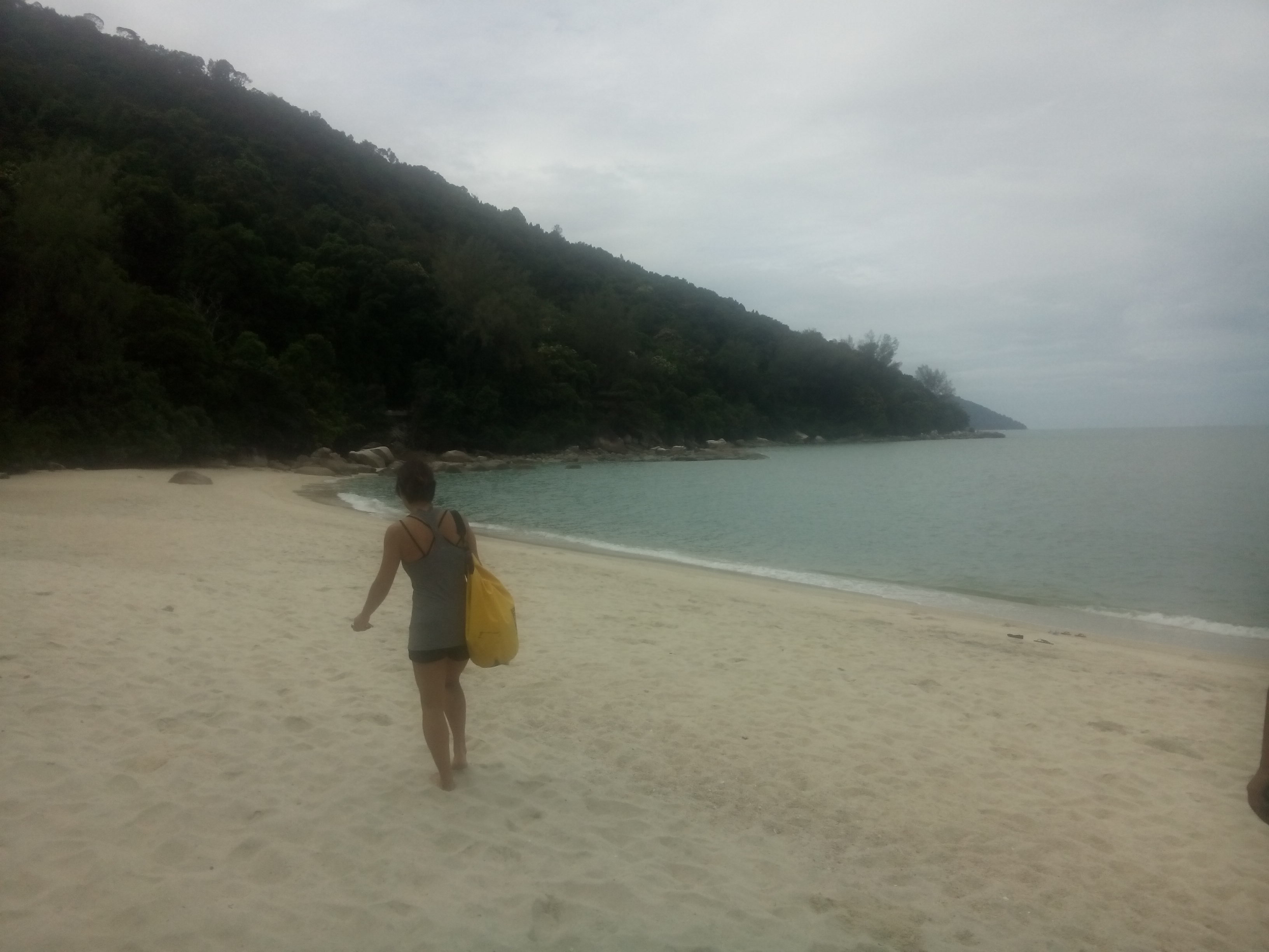Sea and jungle background, sand foreground, woman walking