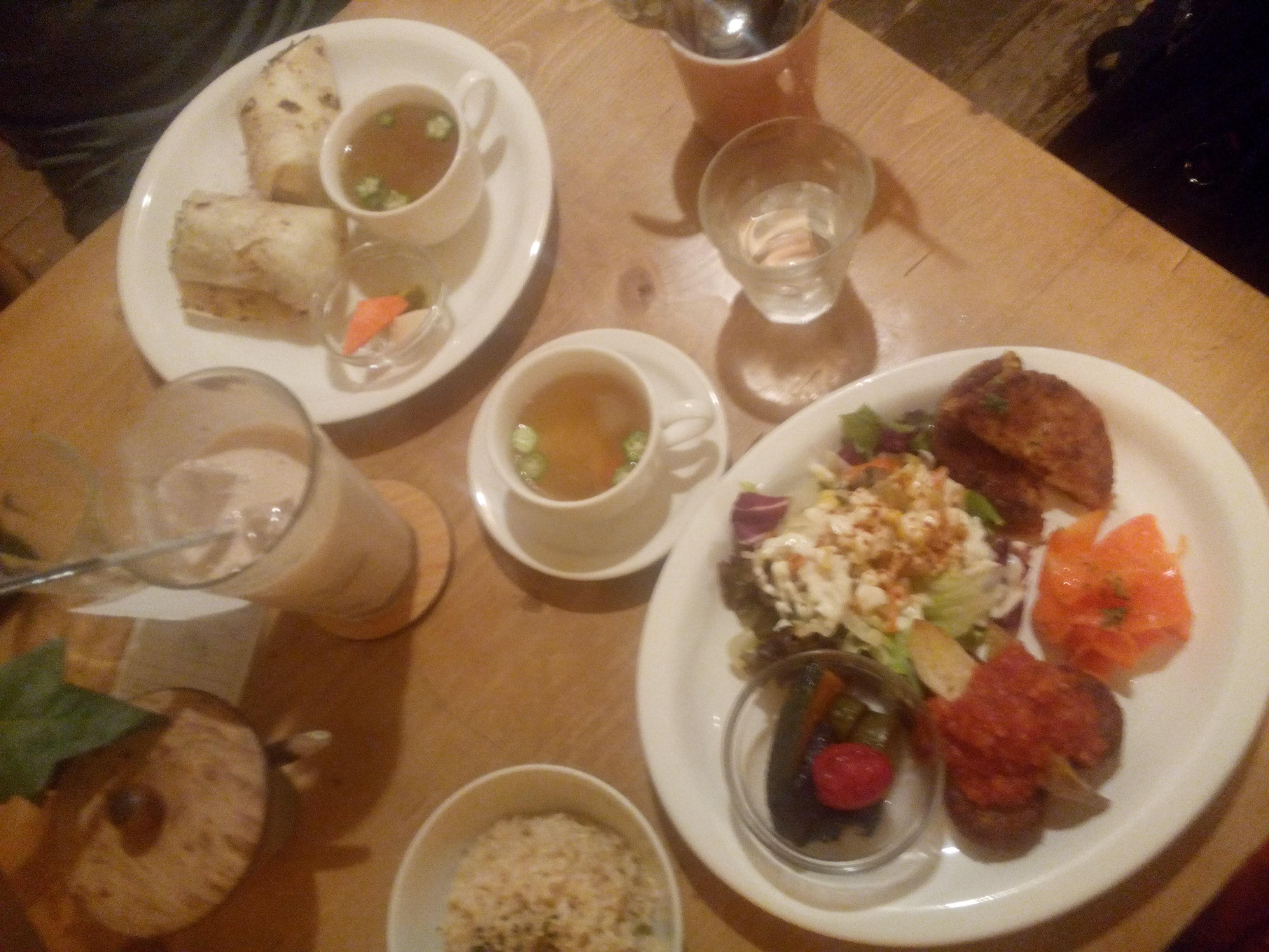 Vegetarian plate and teriyaki wrap
