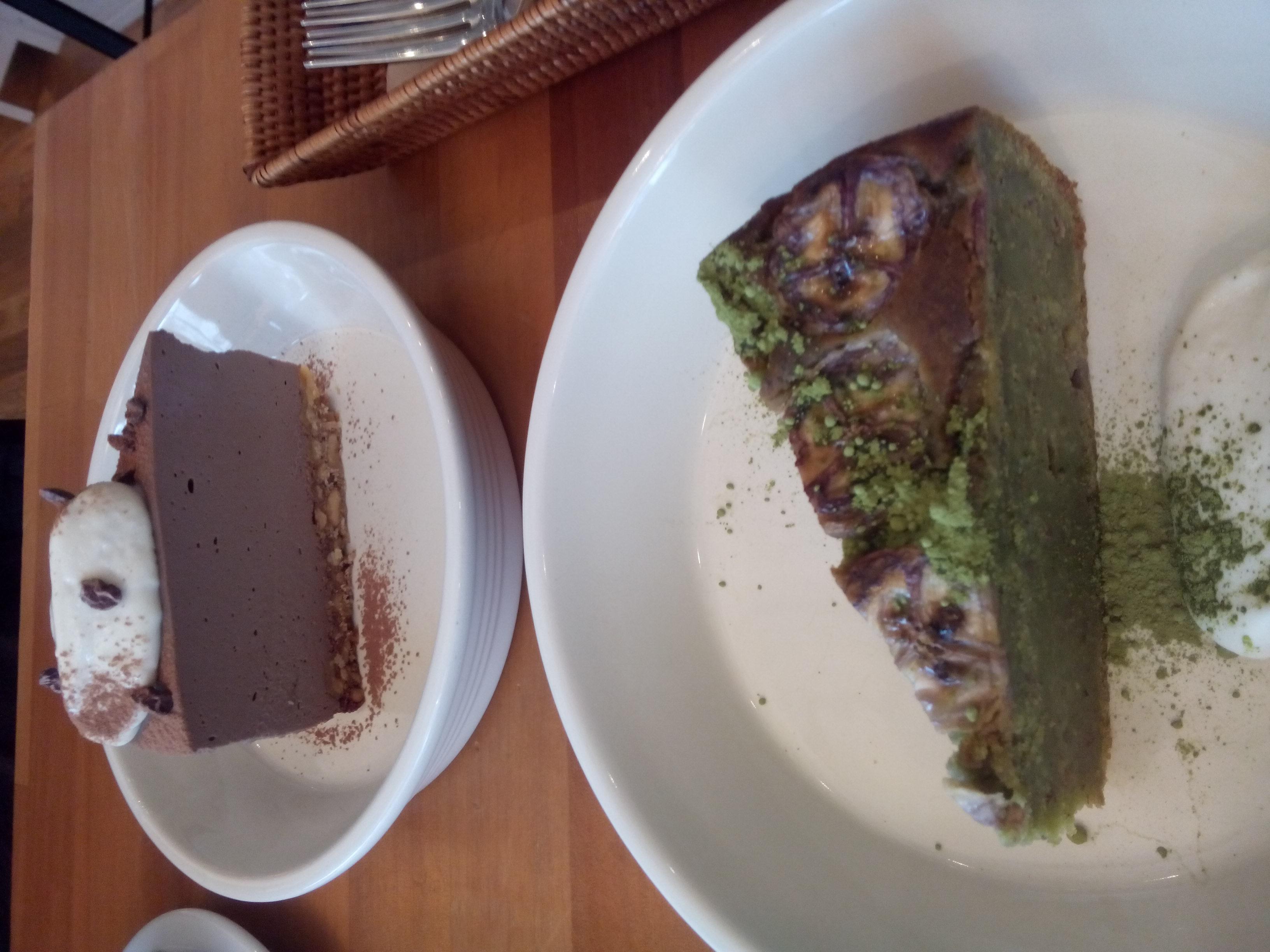 Banana chocolate cake and coconut mousse cake