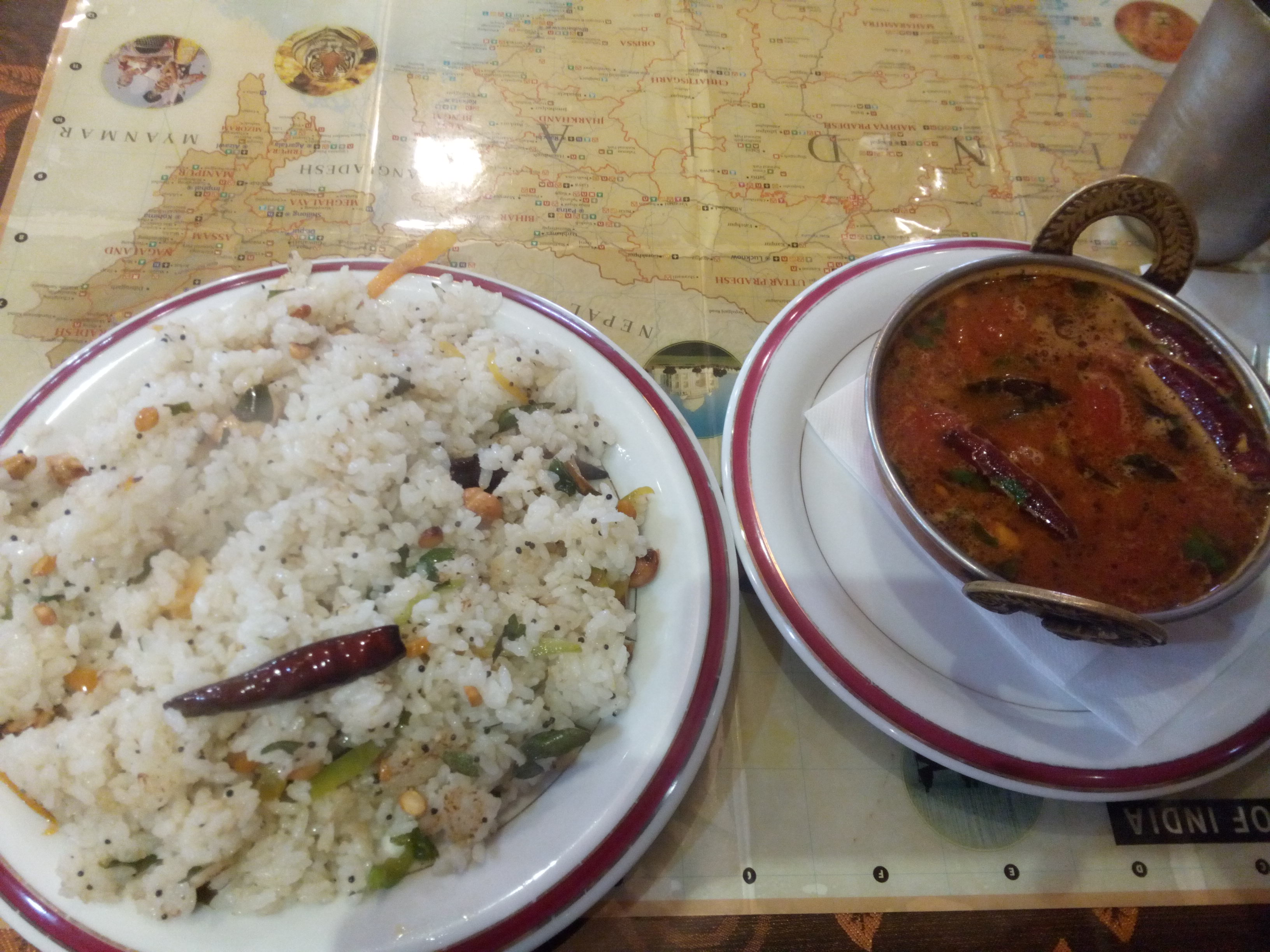 Spicy rasam and coconut rice