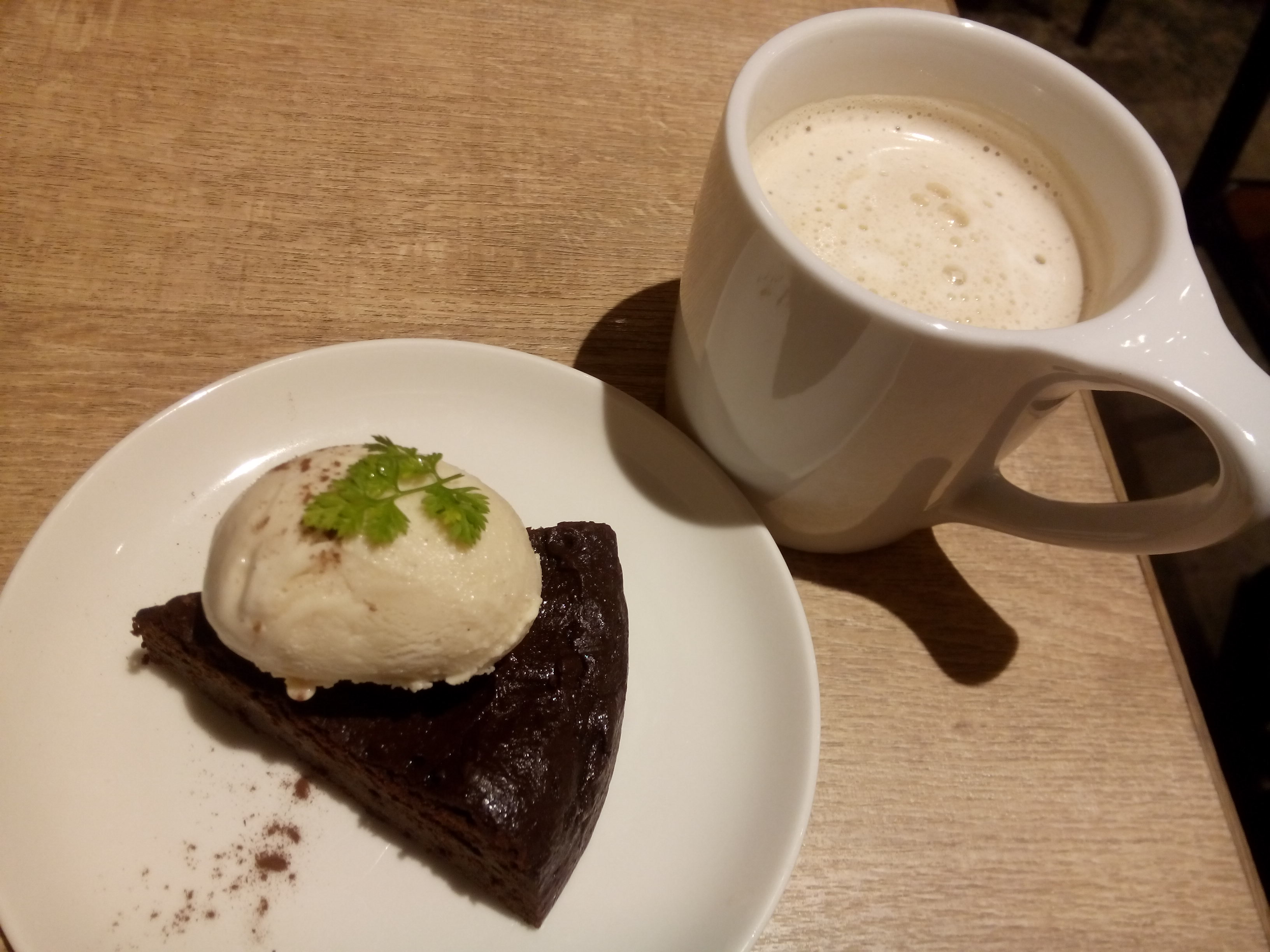 Chocolate gateau and soy latte