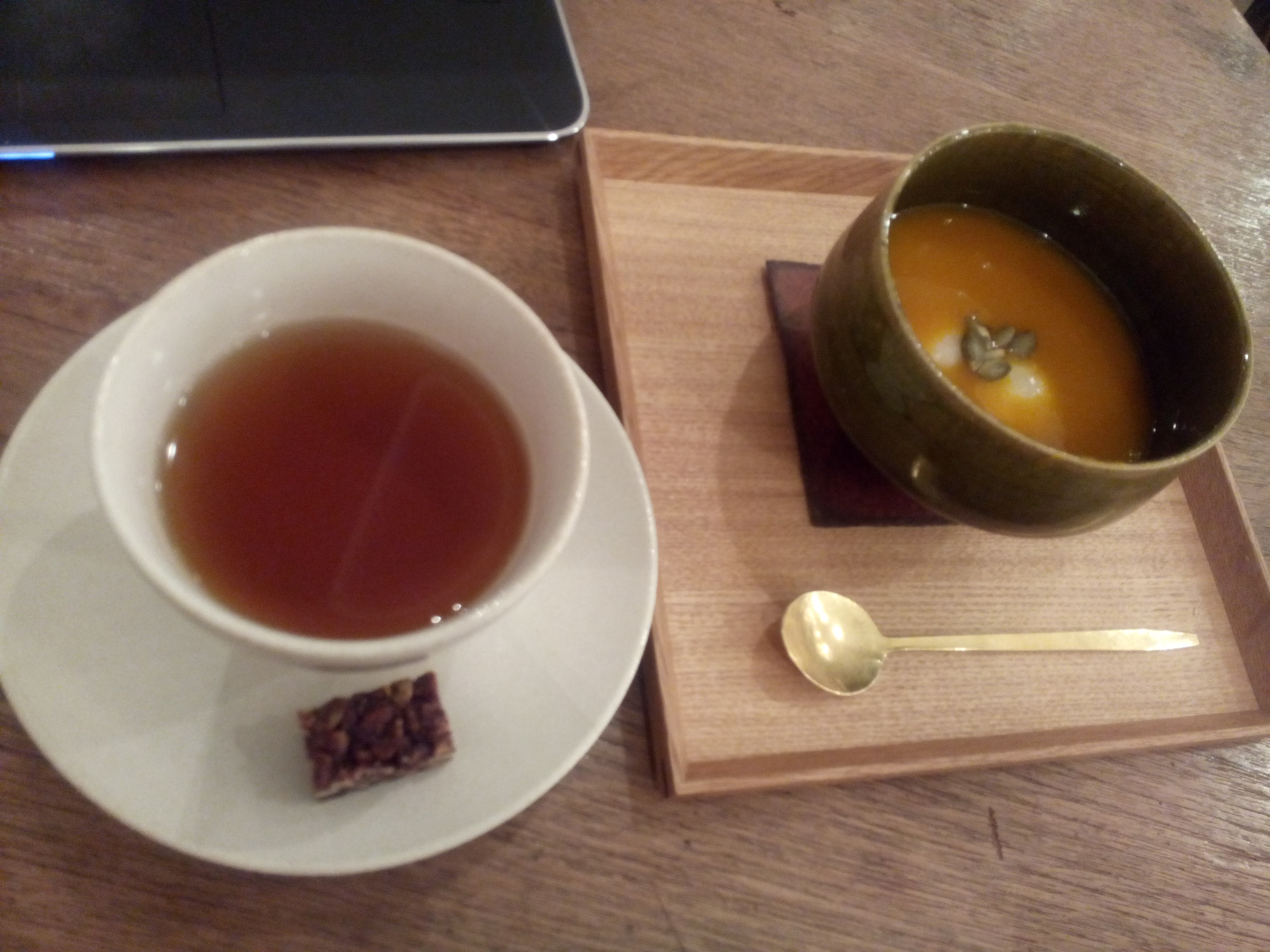 Pumpkin soup with mochi, tea