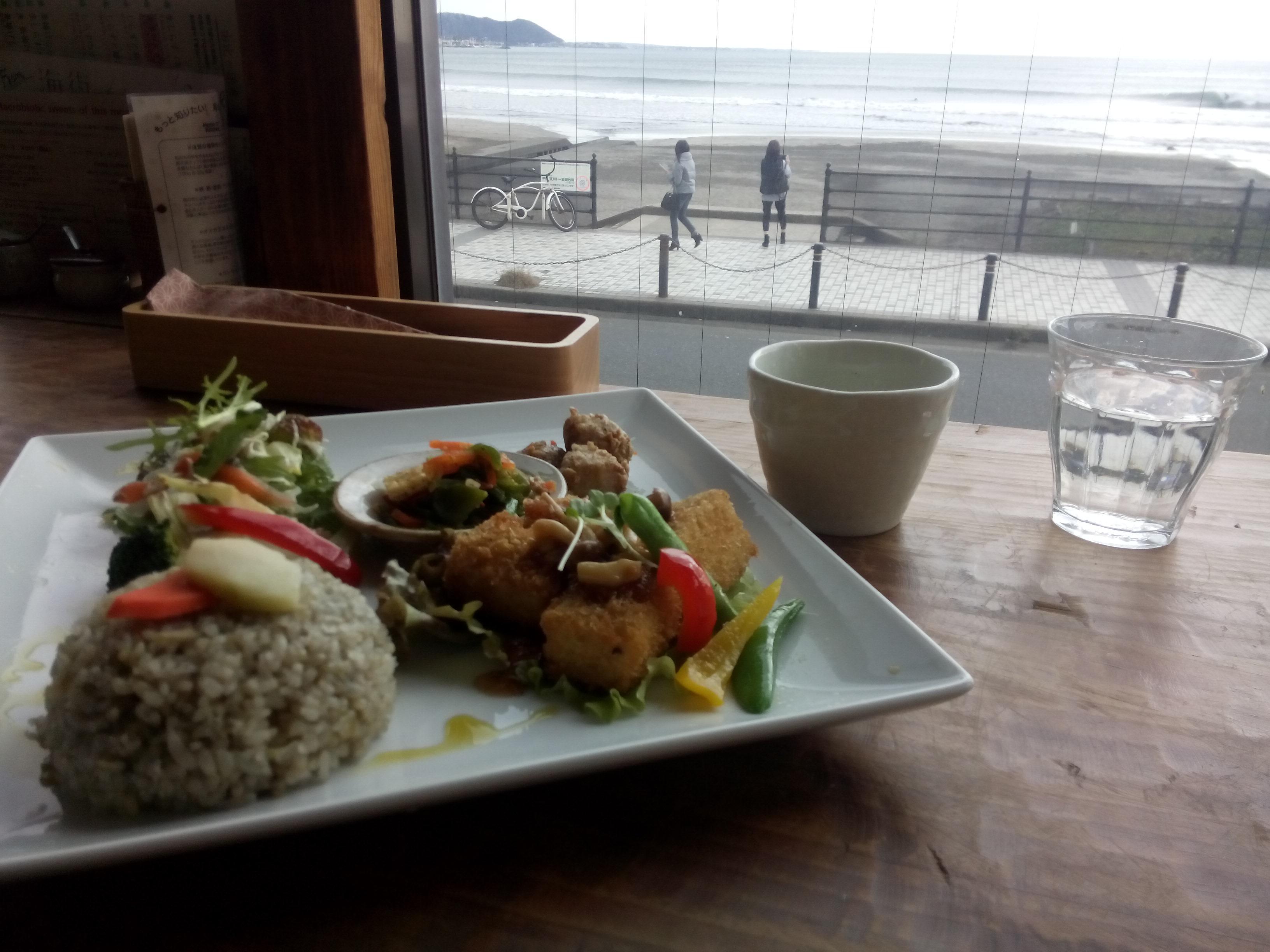 Tofu plate and sea view