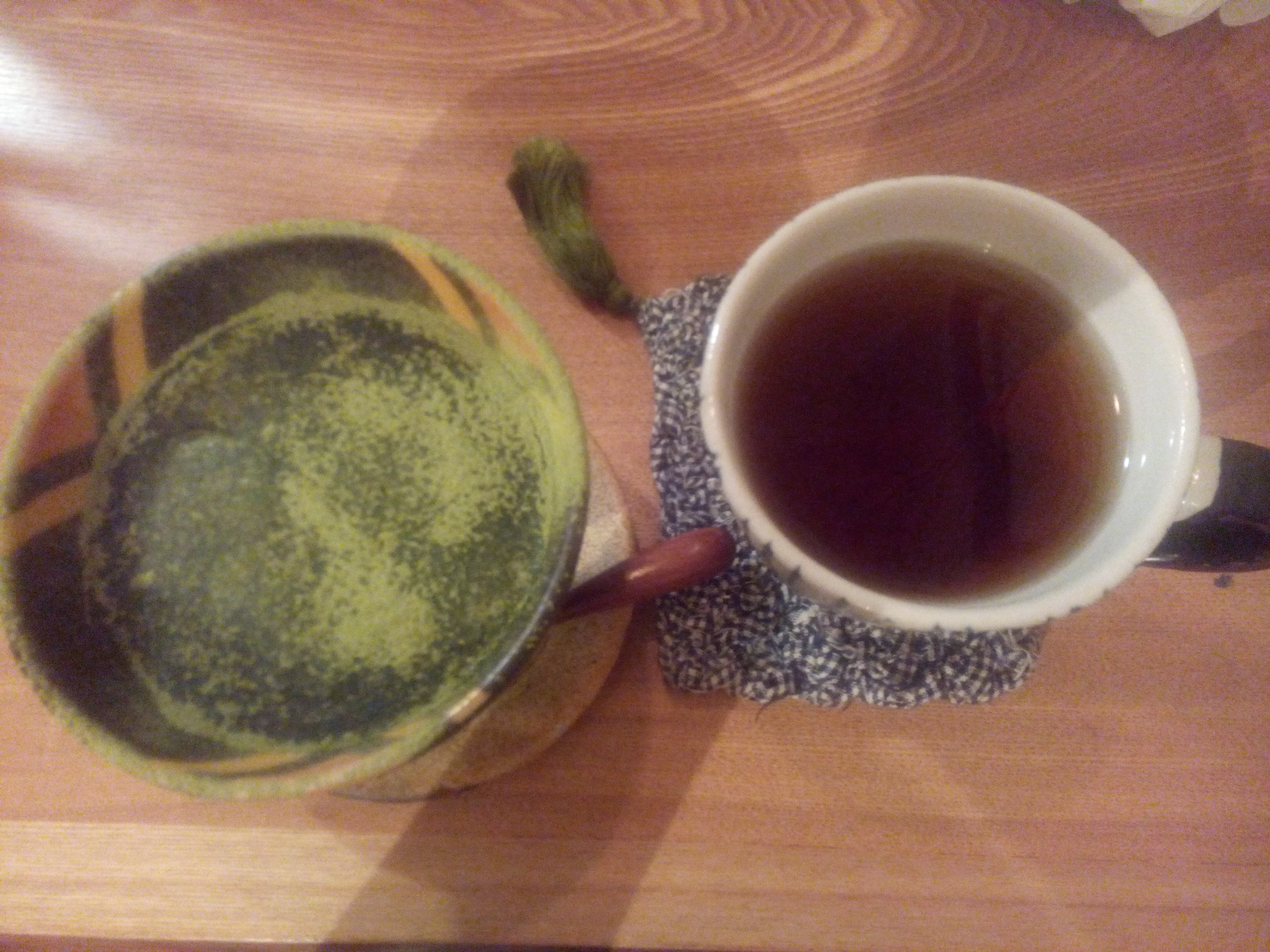 Matcha tiramisu and tea