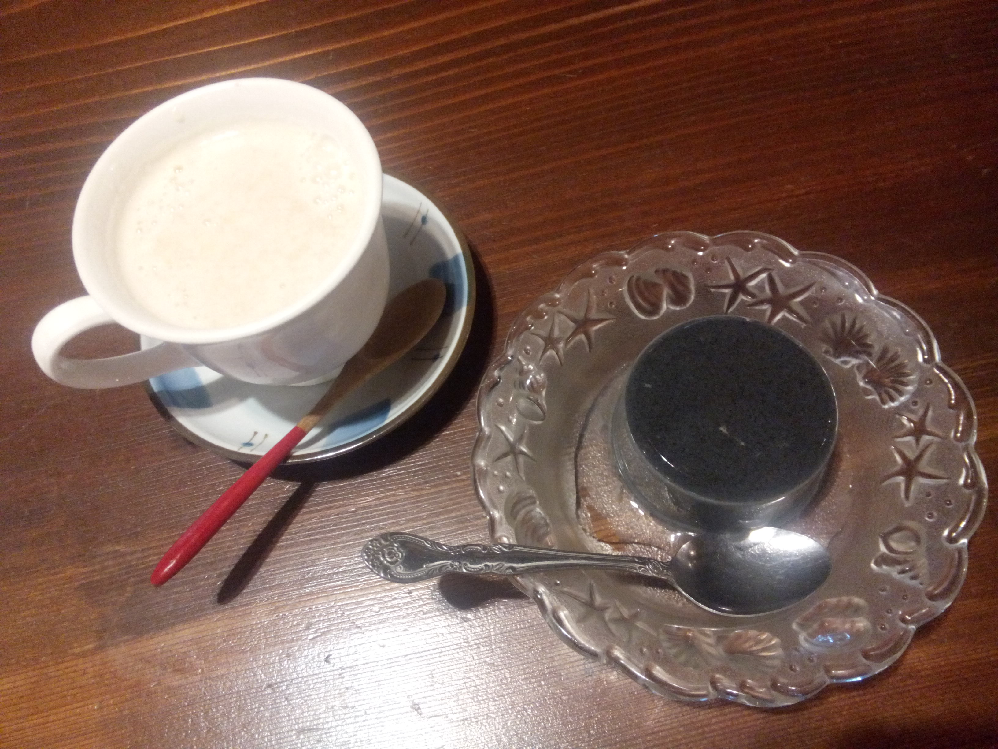 Amazake and kurogoma pudding