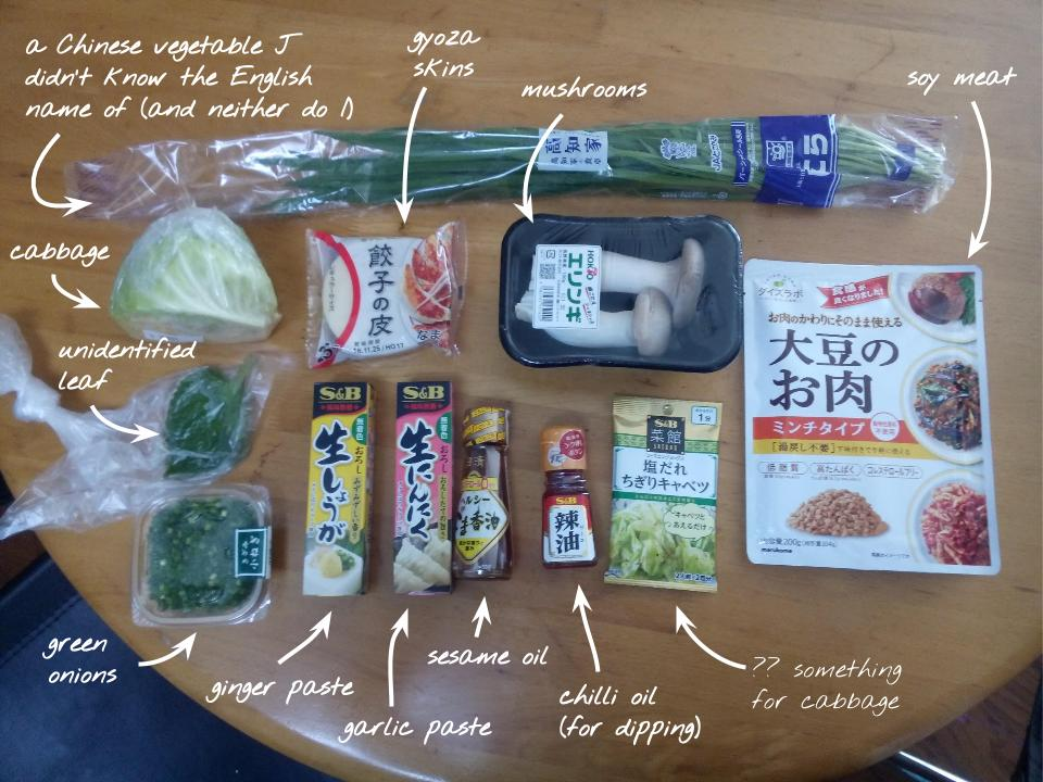 Gyoza ingrediants laid out