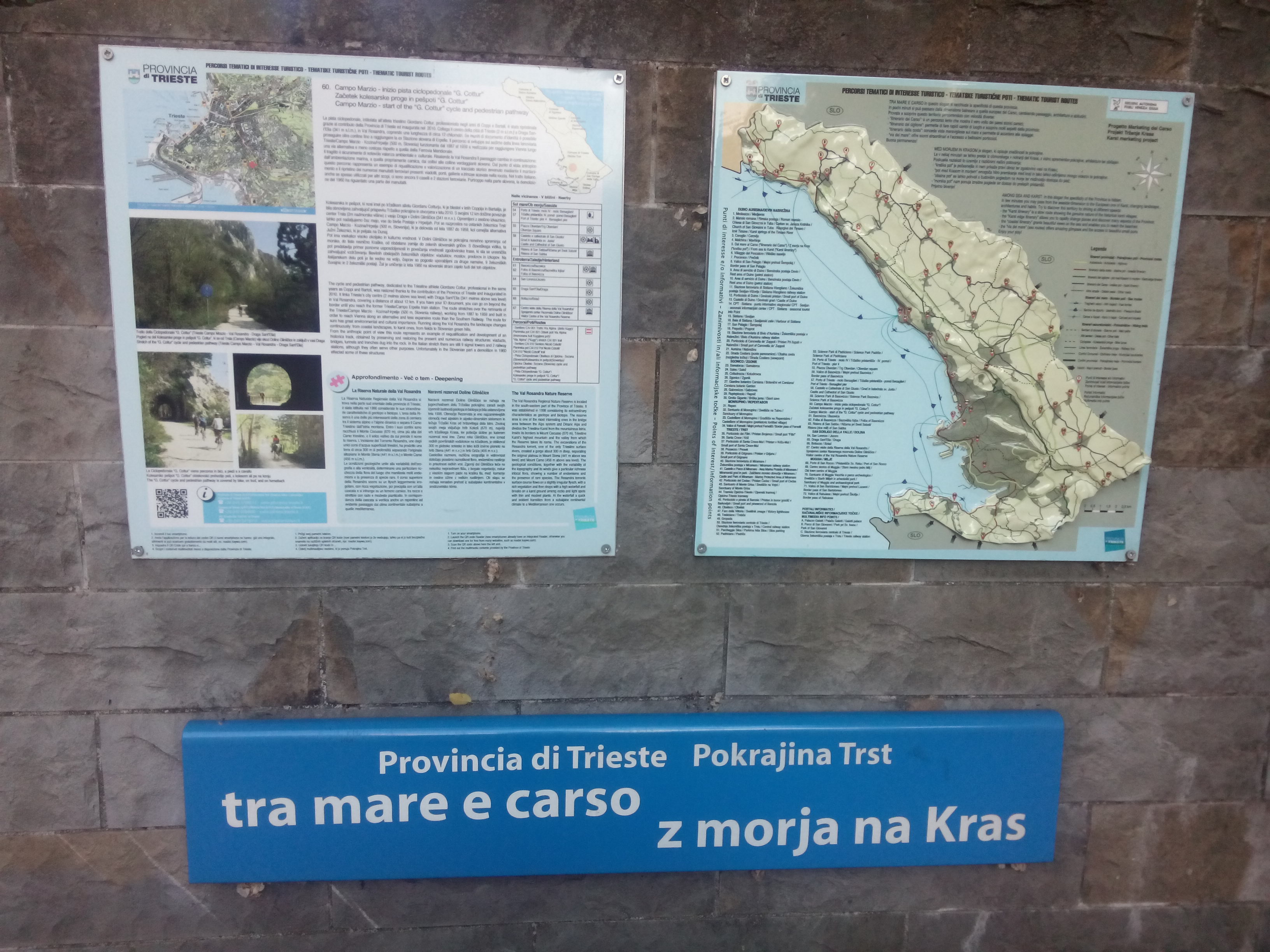Some signs on a wall about the cycle path to Slovenia