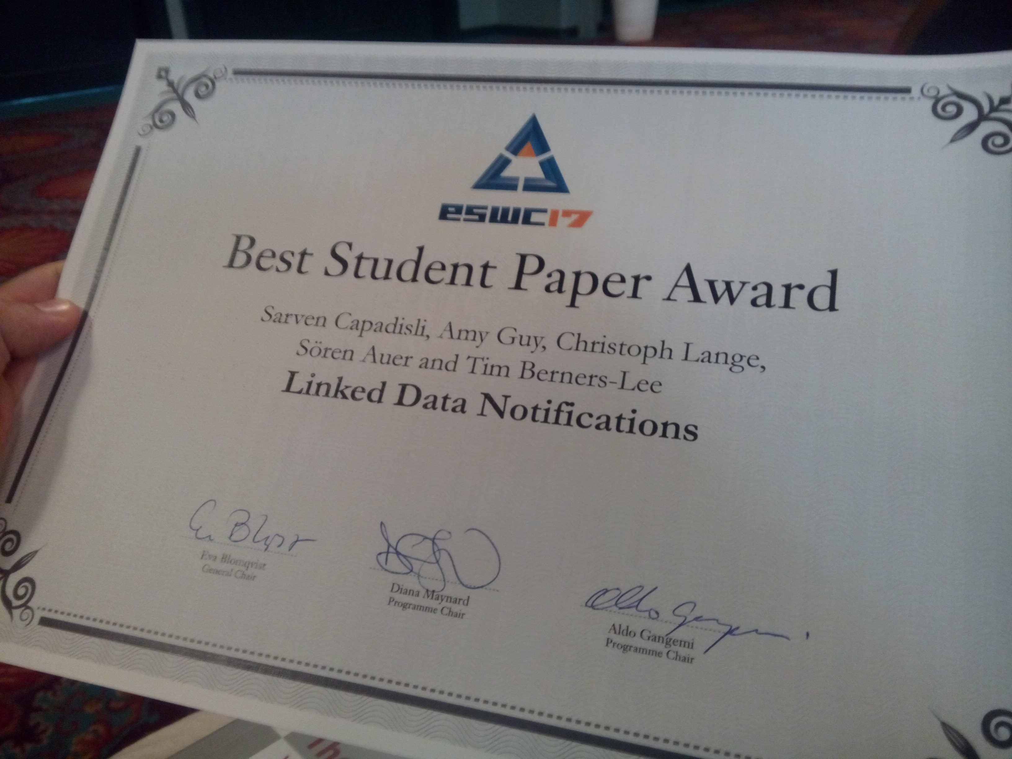 A certificate: LDN wins best student paper