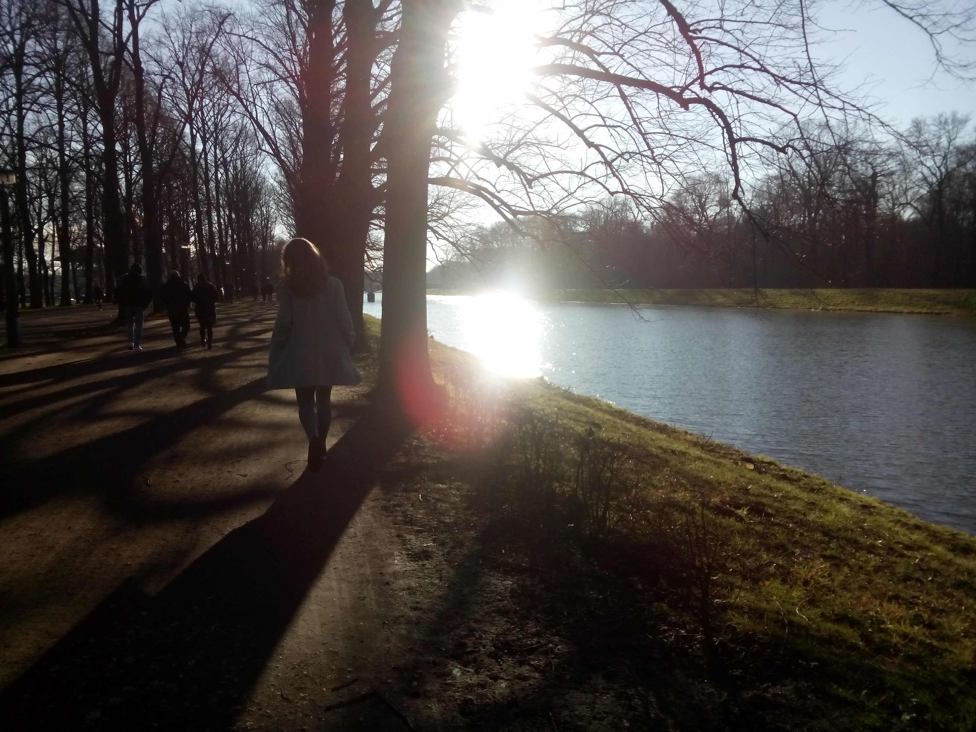 A woman walking through some trees by a river, with the sun glowing in the center