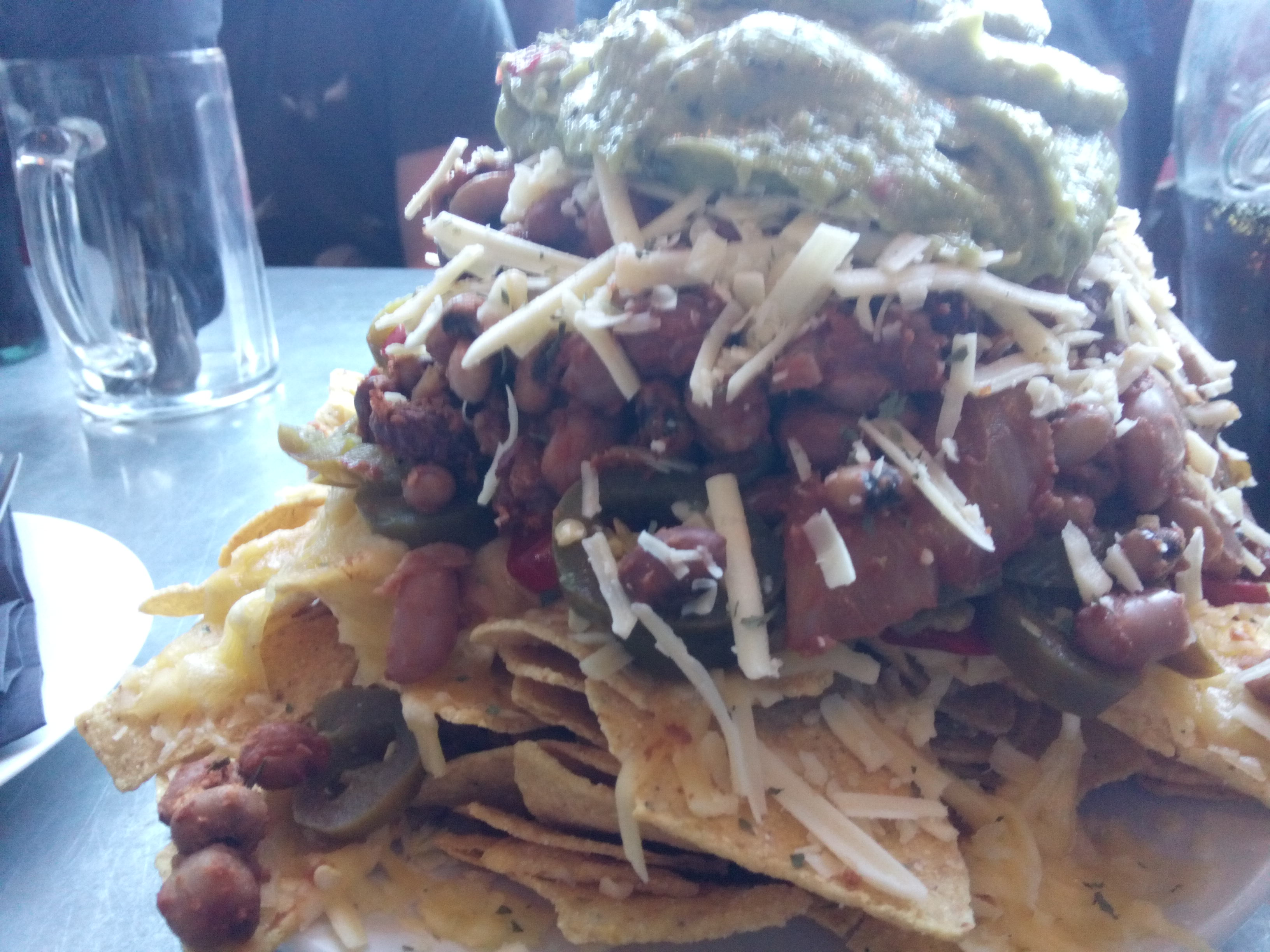 The tower of nachos, but closer