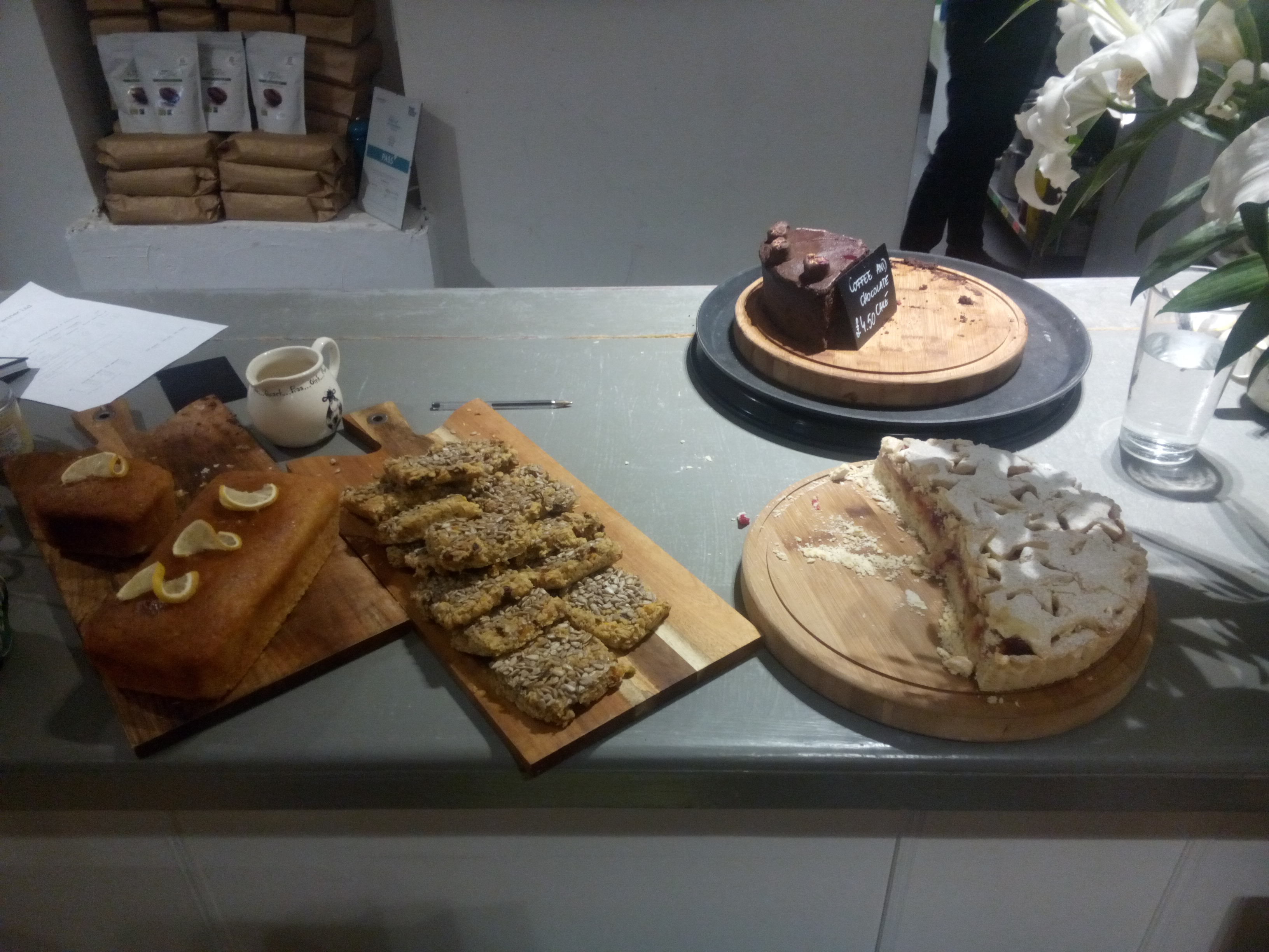 A selection of cakes on the counter