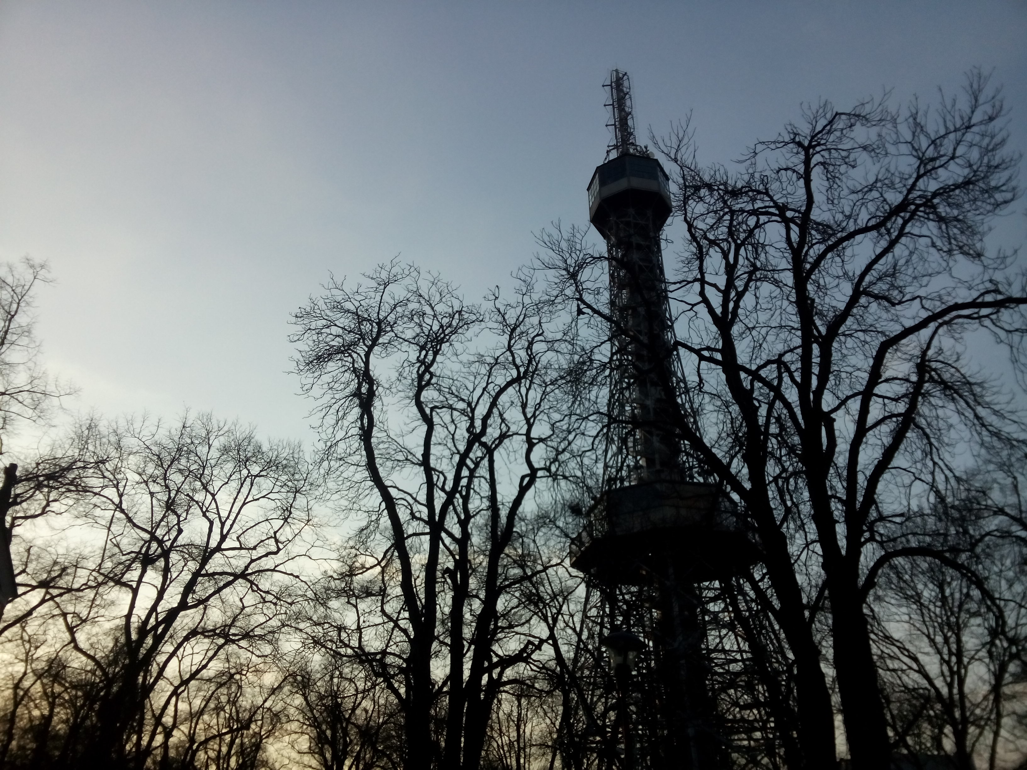 An Eiffel-Tower-like tower silhouetted against a dusky blue sky along with spindly trees