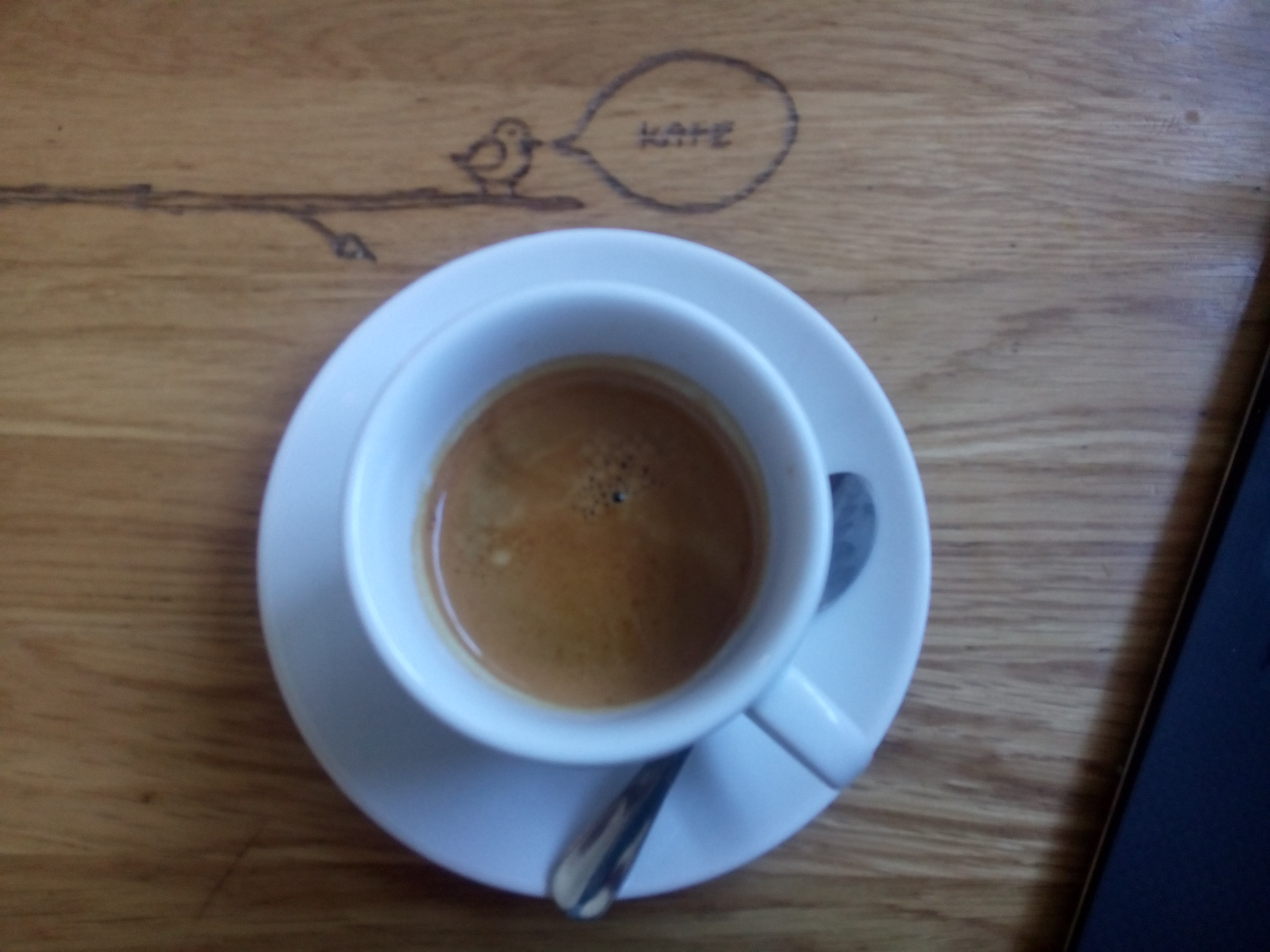 An espresso cup from the top, on a wooden table, with carved graffiti of a little bird on a branch saying 'kave'