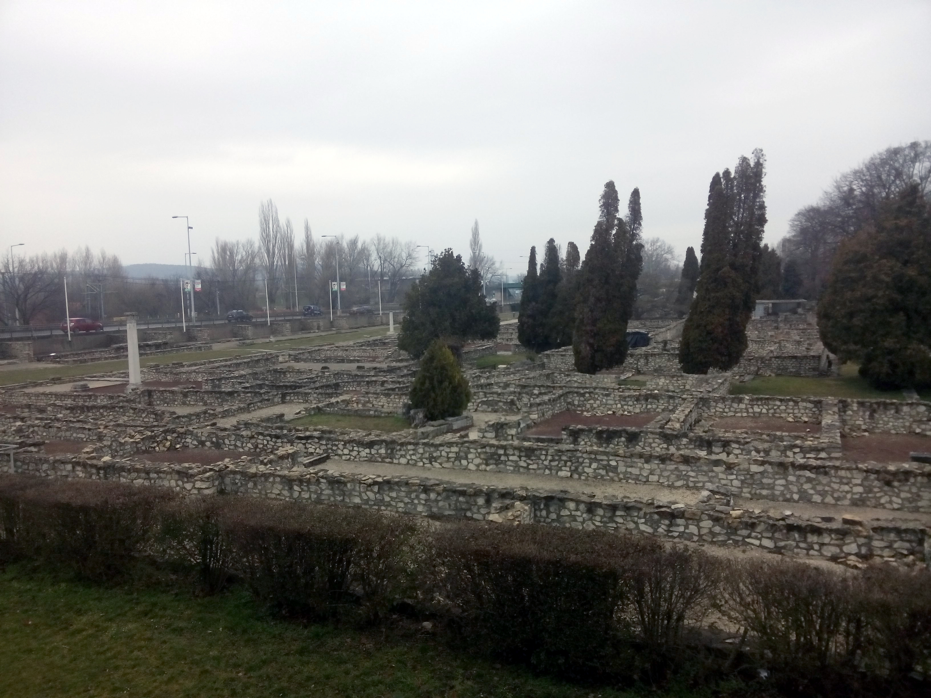 White sky, dark green trees, around the remains of stone walls in the ground