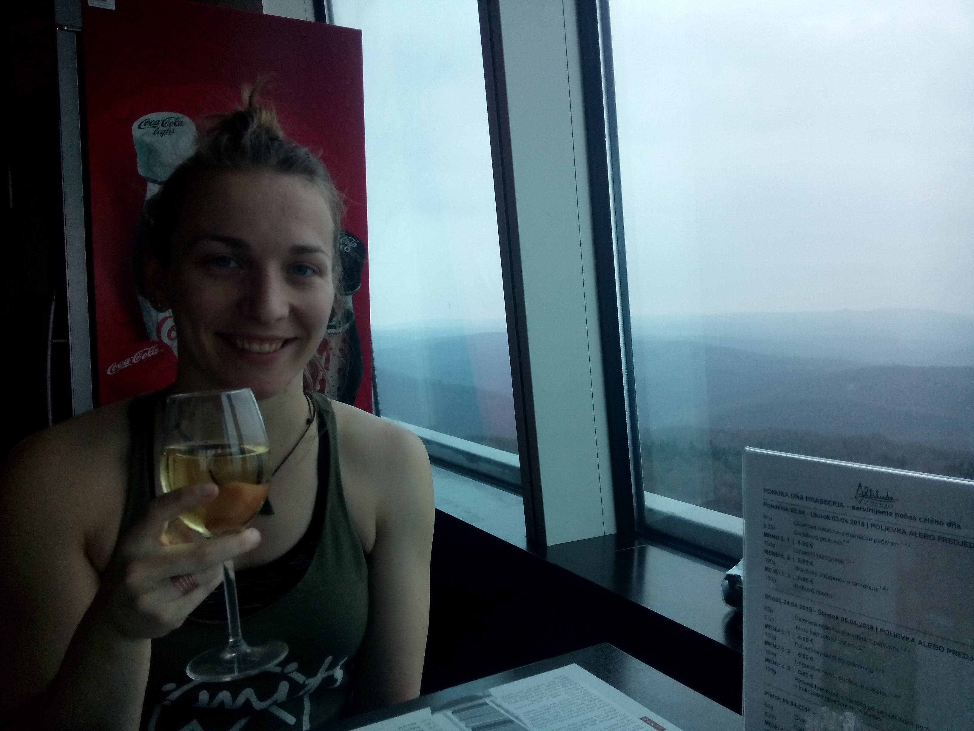 A woman holds a glass of white wine beside a window, with a view to misty hills