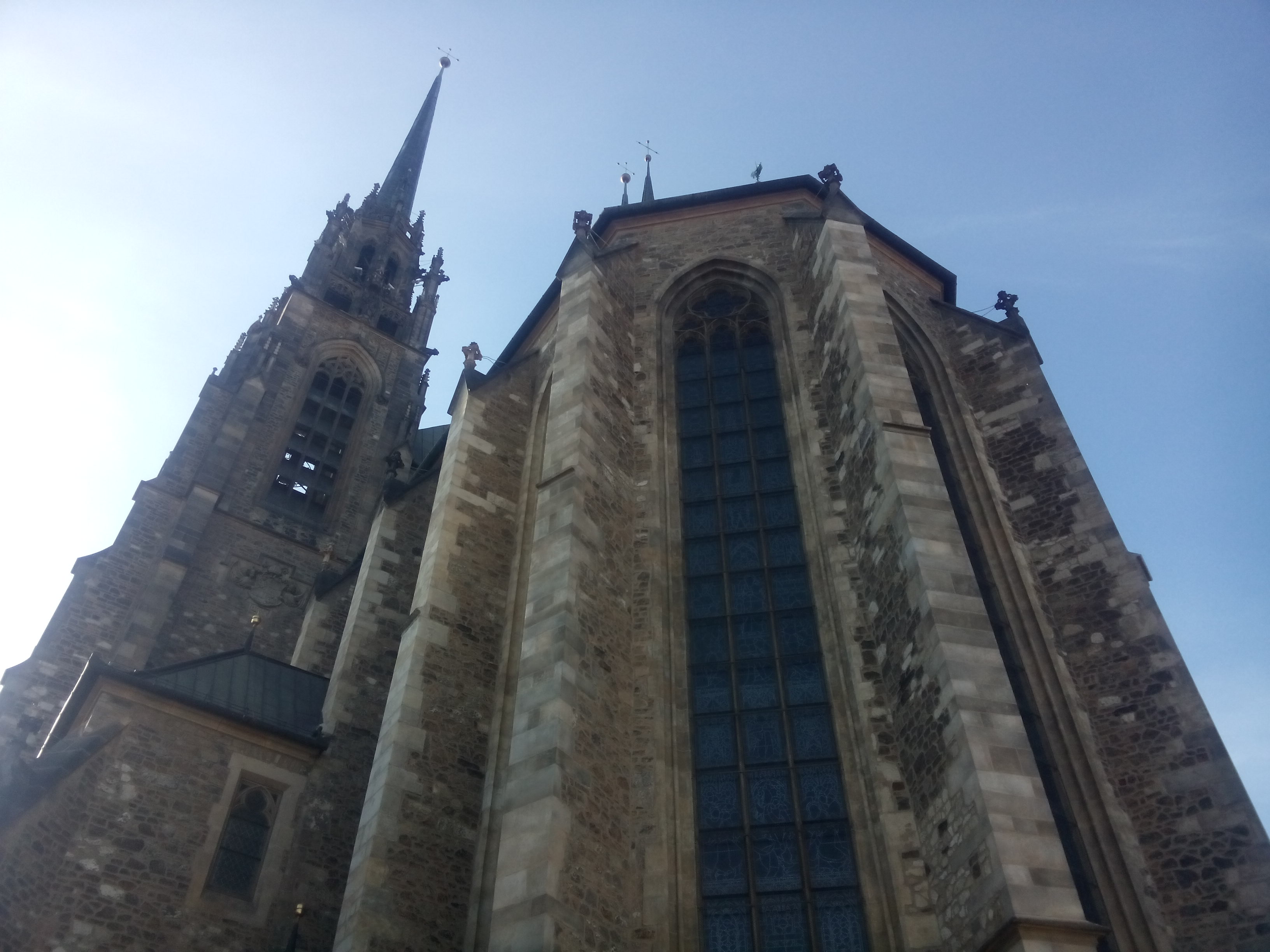 View from below of the side of a cathedral with big windows