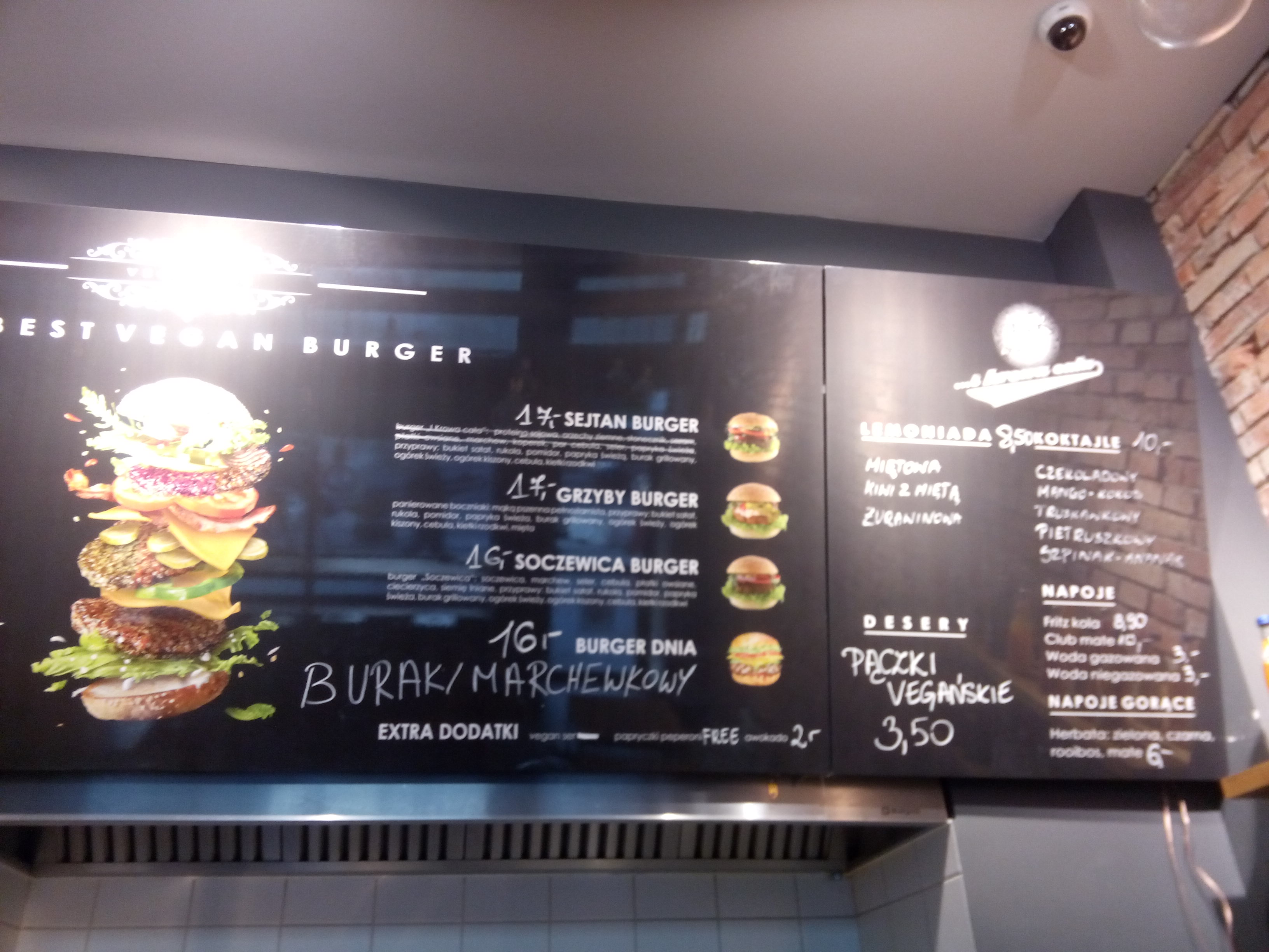 Half a menu with burger options listed