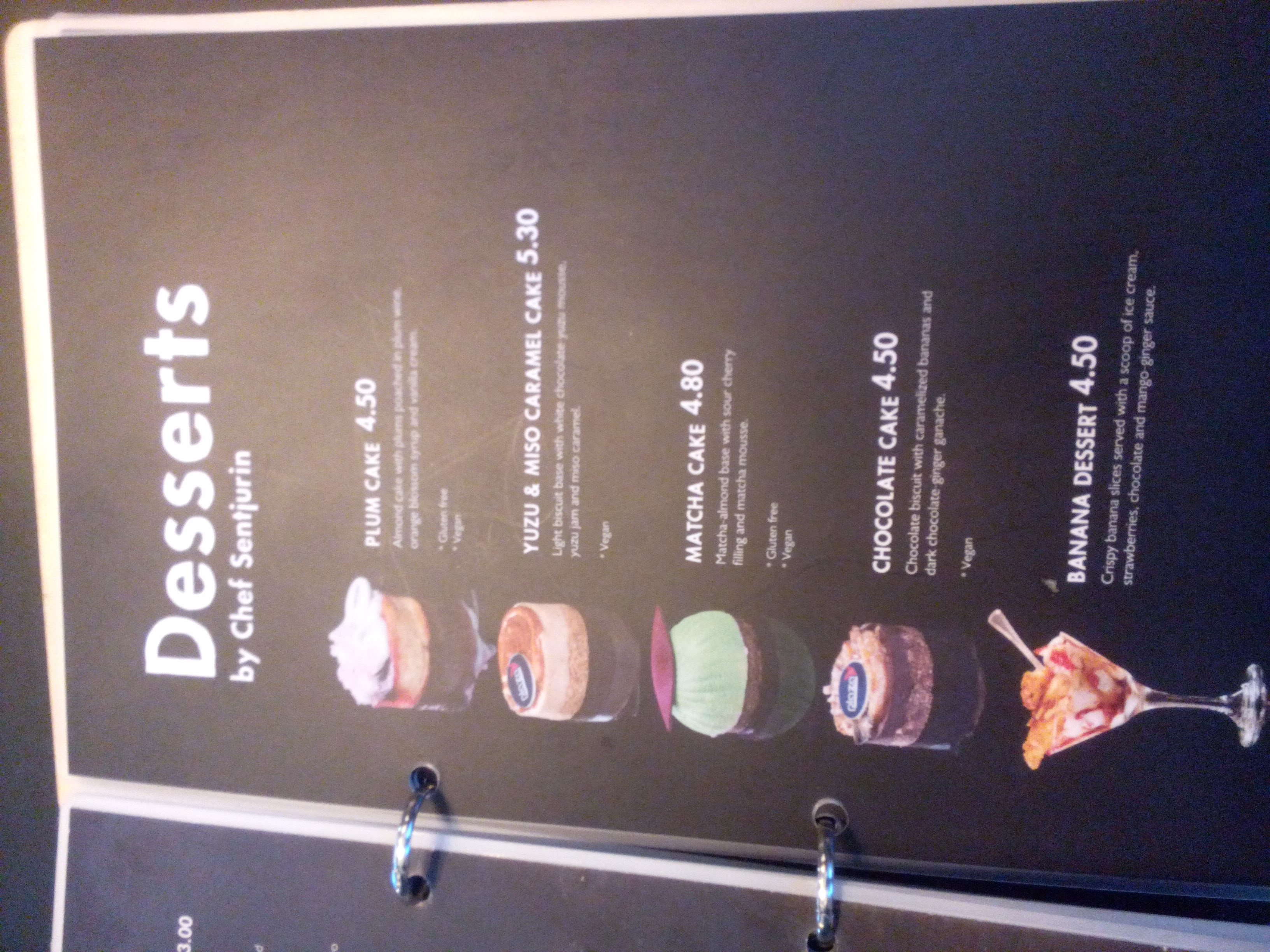 Desserts menu with pictures