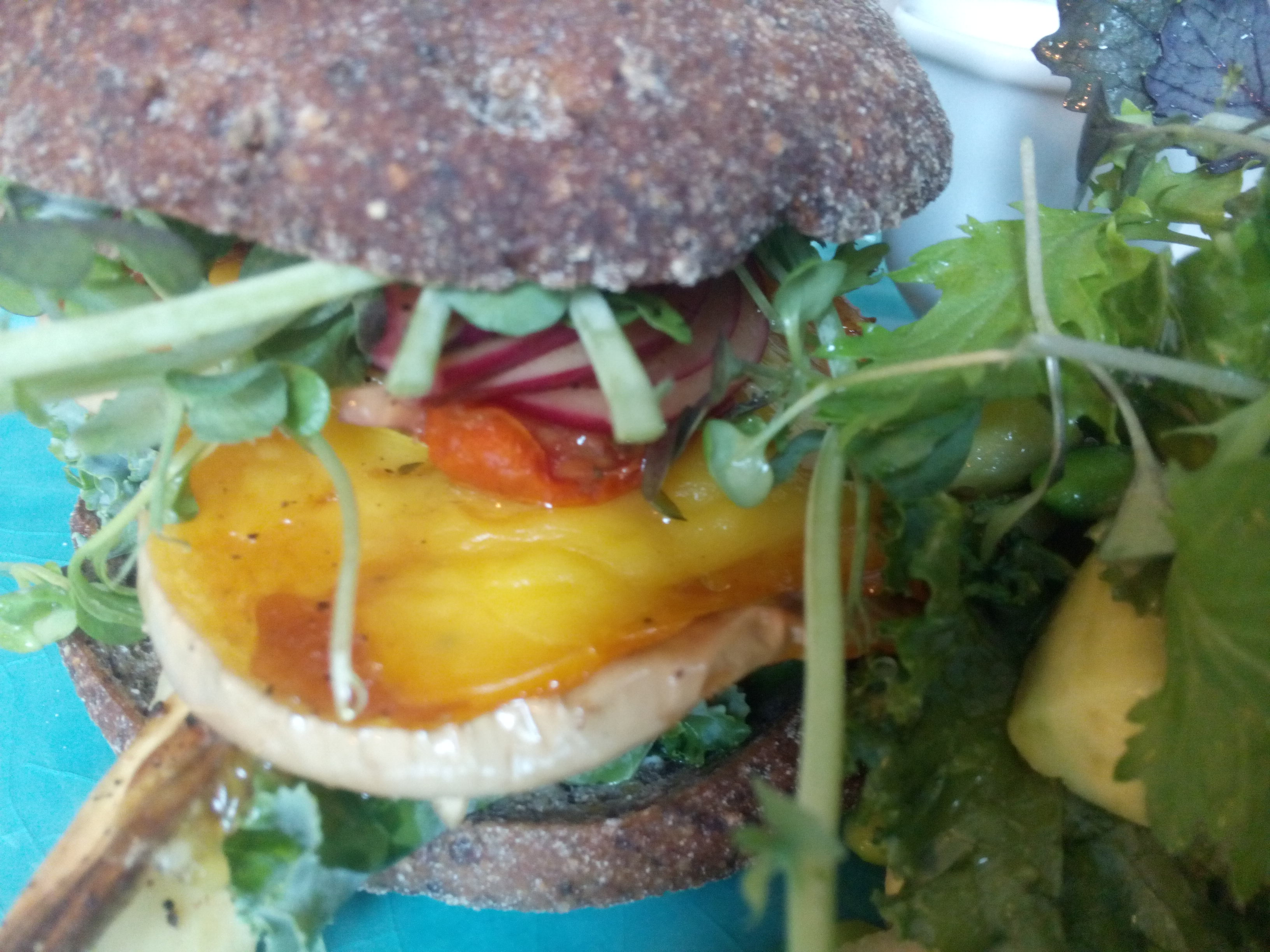 A close up of root vegetable burger with leaves, radish and cheesey sweet potato poking out