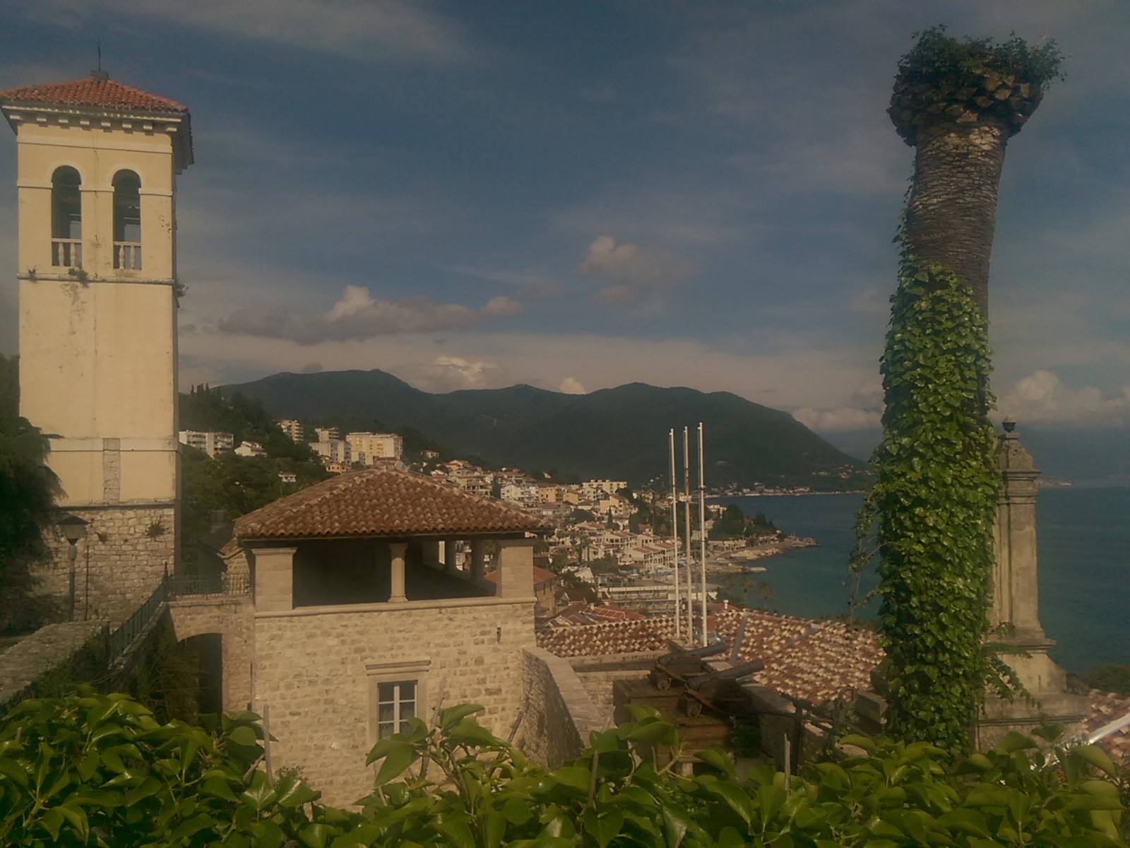 A church tower on the left and a tall ivy covered tree on the right, with old town in between stretching into the distance, and further mountains