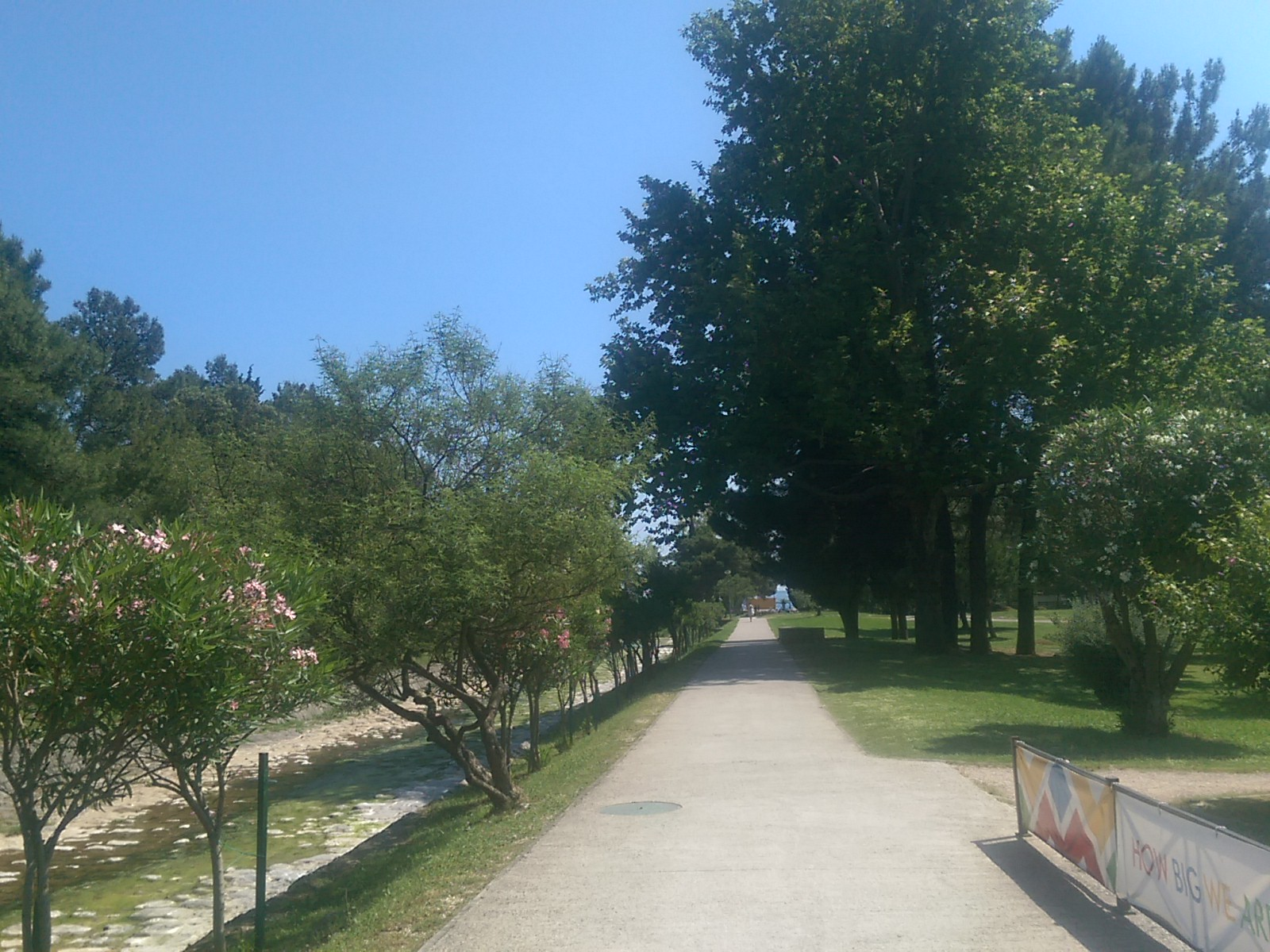 A concrete path into the distance, with grass and trees each side
