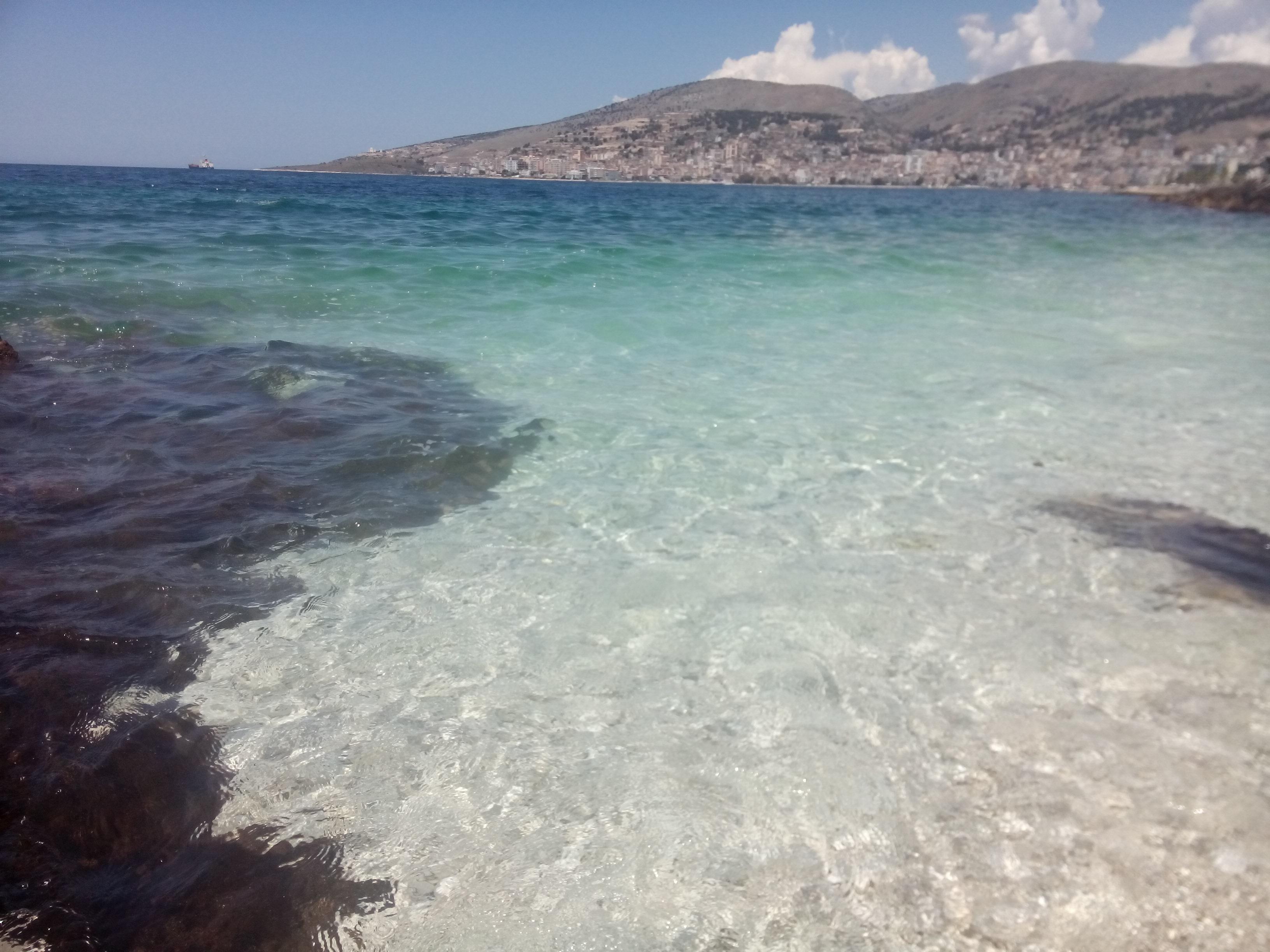 Clear seawater reflecting the sun