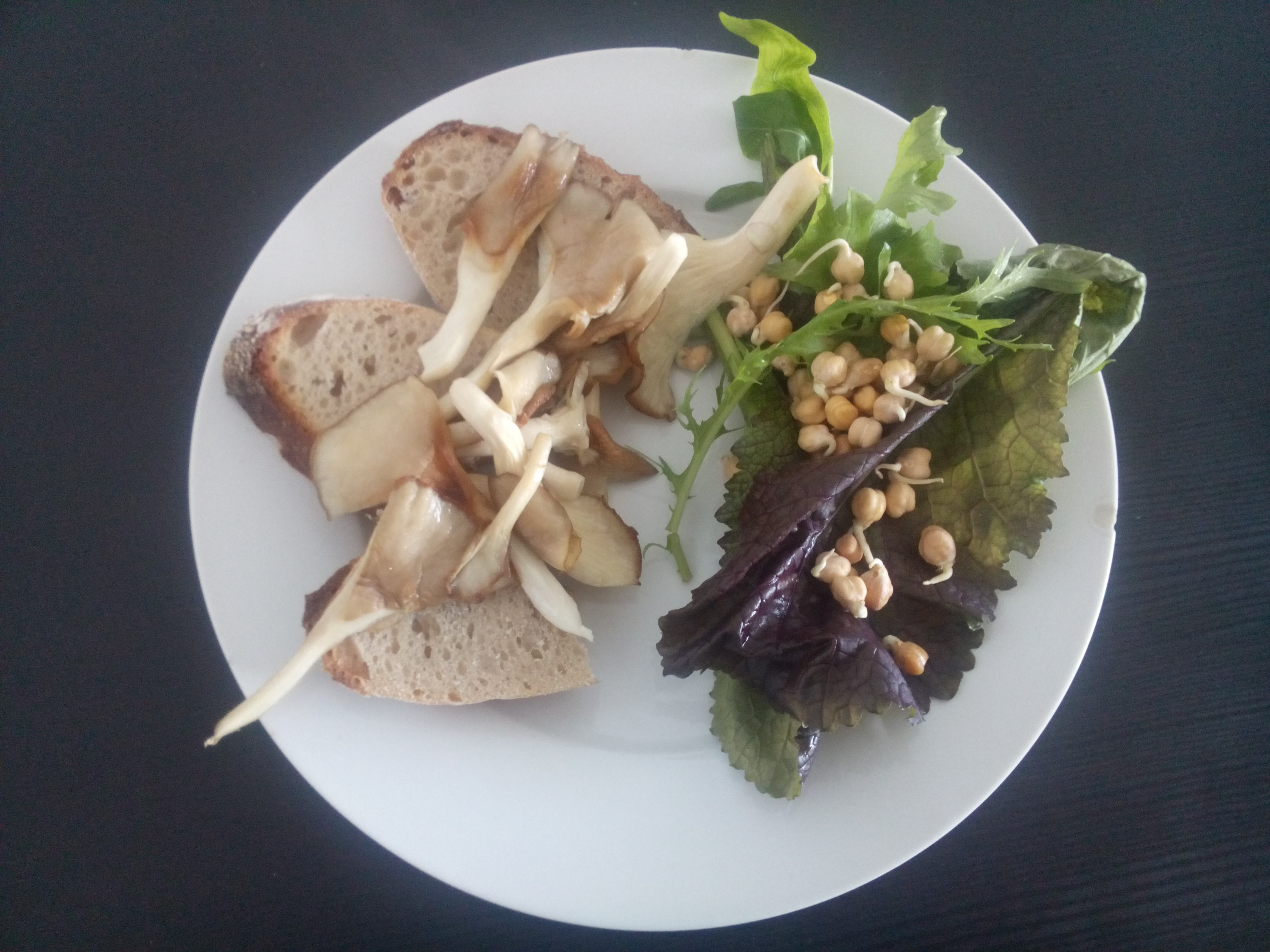 A white plate with bread under golden seared oyster mushrooms beside green and purple leaves with chickpeas