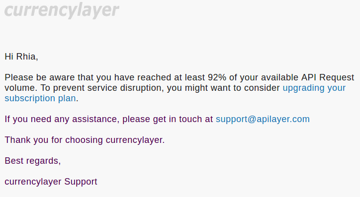 Screenshot of email from currencylayer saying I'm approaching API limit
