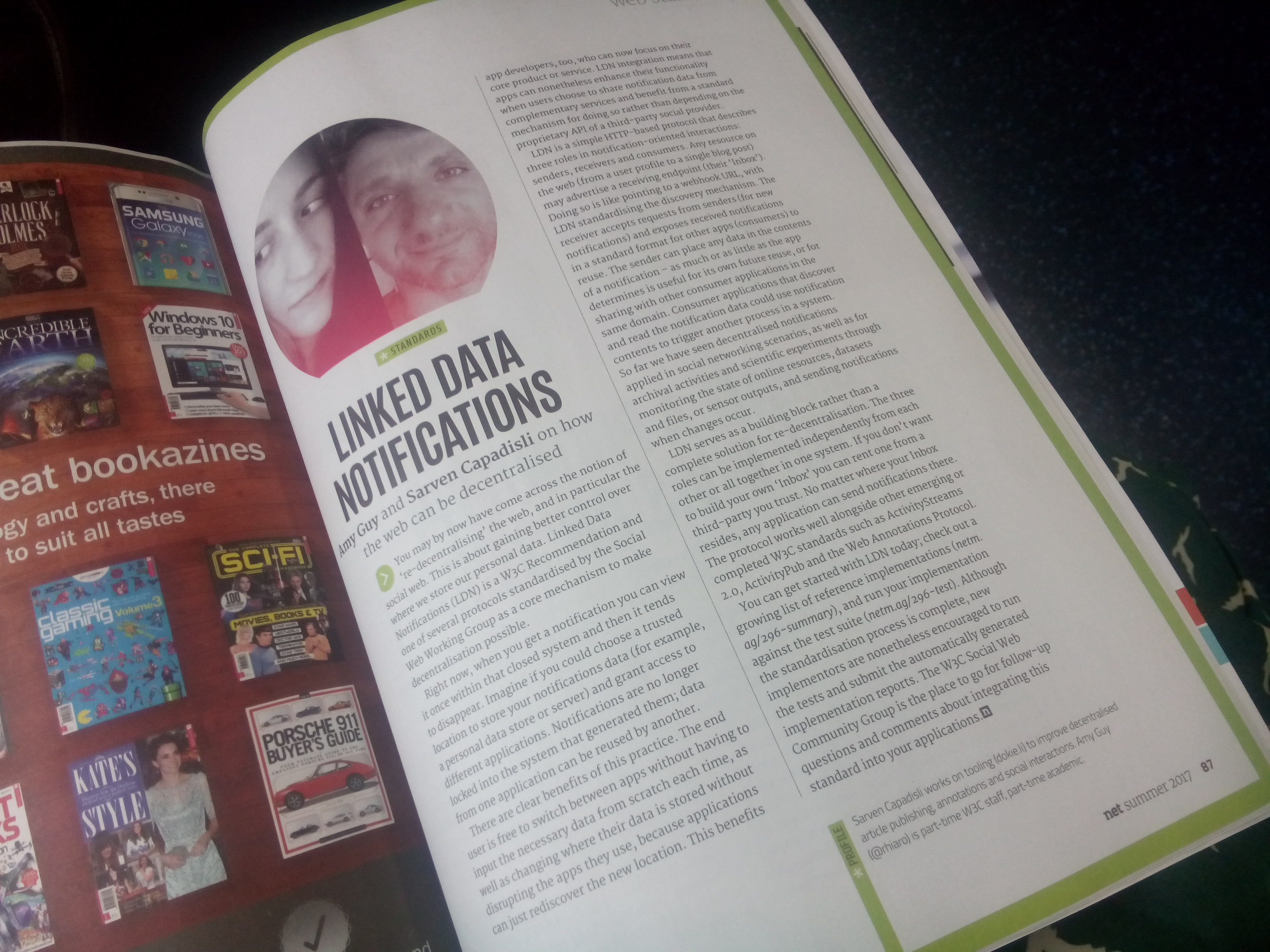 A photo of the article in print