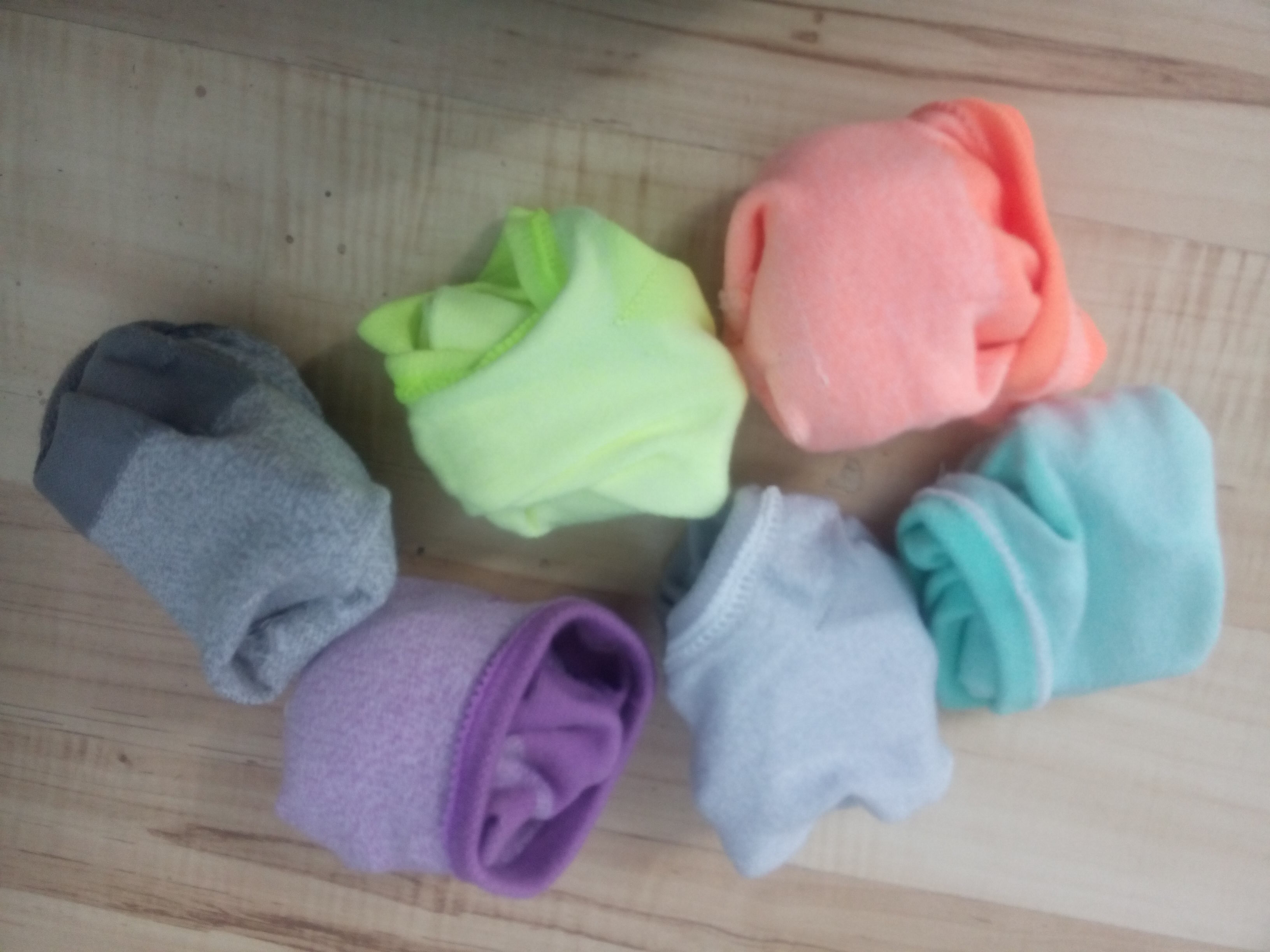 A mound of bright coloured ankle socks