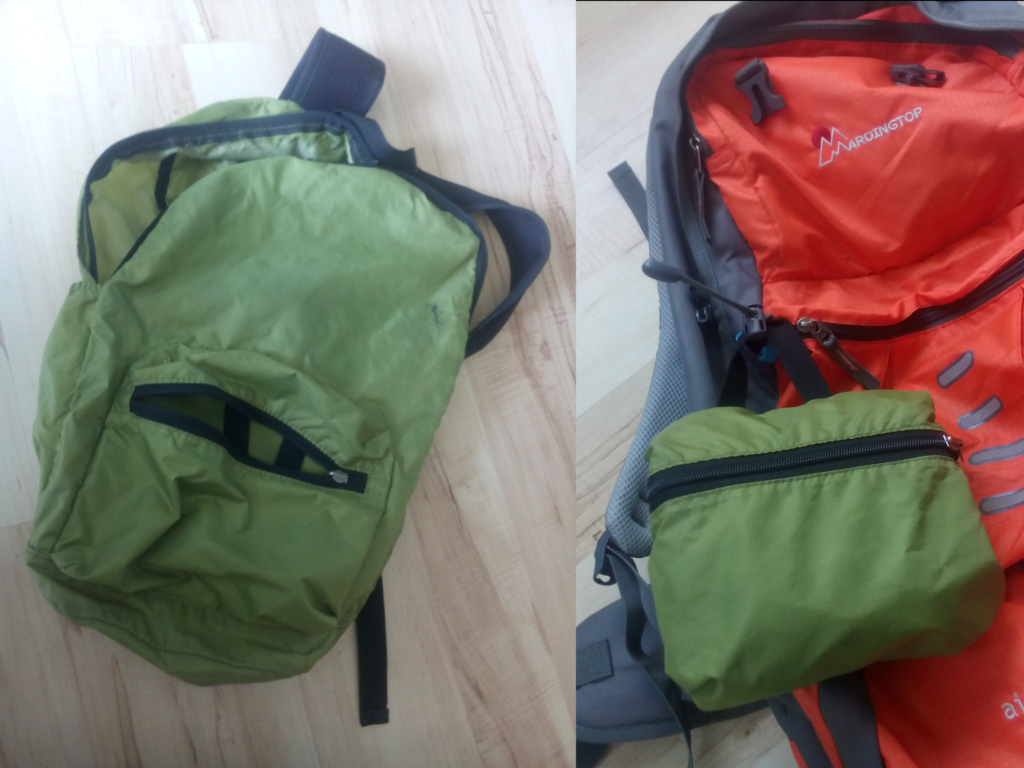 A composite image of the same small green backpack on a floor, on the right open out and on the left folded in on itself into a pocket