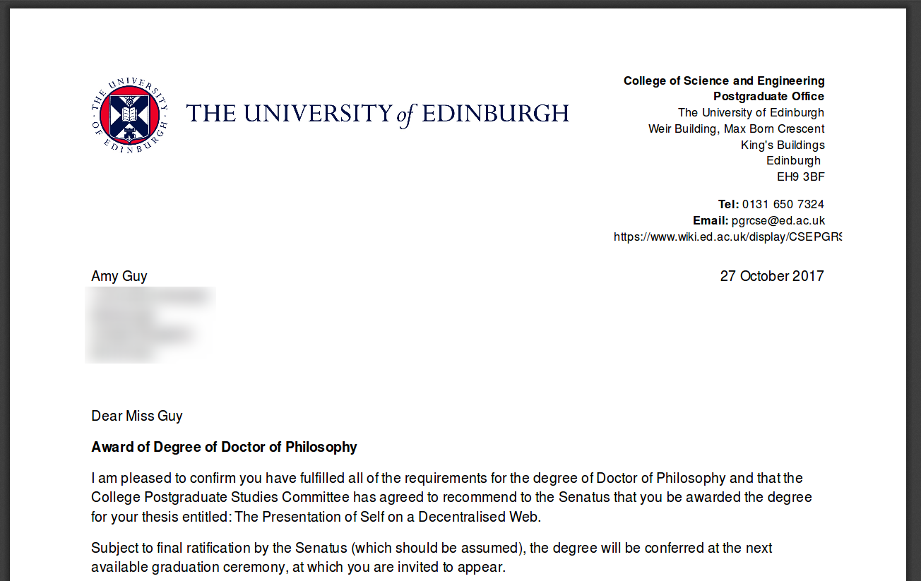 PhD award letter from the University of Edinburgh