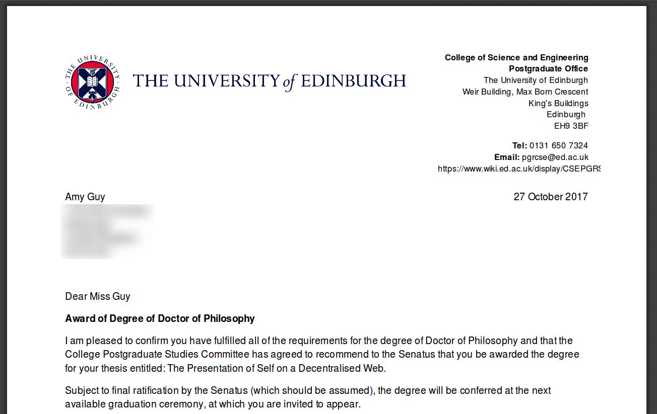 PhD award letter from the University of Edinburgh